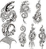Lodlinje stiliserade draketatueringar stock illustrationer