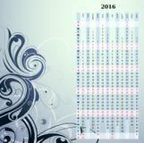 Lodlinjekalender för år 2016 Royaltyfri Fotografi