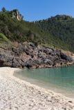 Lodlinjeskott av den härliga stranden Arkivfoton