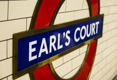 Lodon underground station sign. Earl's Court Underground sign in London. At this station is a blue police box known as a TARDIS from Doctor Who Stock Photo