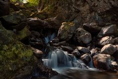 Lodore Falls, Lake District. Long exposure of Lodore Falls in the Lake District to create a smooth silk waterfallnnWaterfall found within the woodlands near stock image