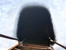 Lodowa dziura Zdjęcie Royalty Free