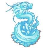 Lodowa figurka węża smok Wektorowy zwierzę royalty ilustracja