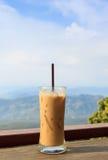 Lodowa kawa na drewnianym stole Fotografia Stock
