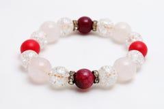 Lodowa kwarc, Czerwonego korala kamień, agata Szczęsliwy kamień Fotografia Stock