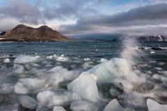 Lodowa lód w Arktycznym fjord - krajobraz Zdjęcie Stock