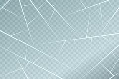 Lodowa nawierzchniowa tekstura z pęknięciami i narysami Odizolowywający na przejrzystym tle wektor ilustracja wektor