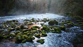 lodowa rzeka z kamieniami, zakrywającymi obraz stock