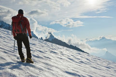 lodowa samotny alpinista Zdjęcie Stock
