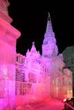 Lodowata miniatura Moskwa Kremlowski Aglow w Różowym menchii świetle - magia Obraz Stock
