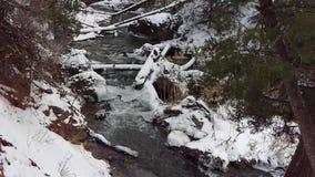 Lodowata rzeka Przez Zamarzniętego krajobrazu zbiory
