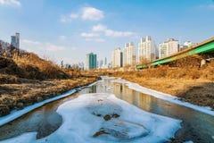 Lodowata rzeka z budynkami zdjęcie royalty free