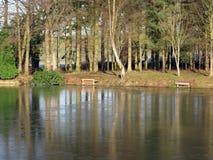 Lodowaty jezioro krajobrazu odbicie fotografia stock
