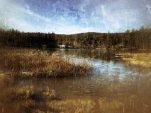 Lodowaty jezioro z pasmem górskim w odległości fotografia royalty free