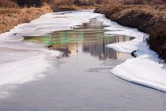 Lodowaty rzeka krajobraz zdjęcia royalty free
