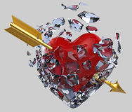 Lodowaty serce przebijający strzała Zdjęcia Royalty Free