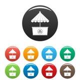 Lodowe ikony ustawiający creme kolor ilustracji