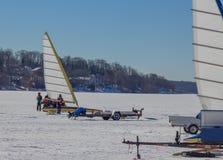 LODOWE łodzie na jeziorze Obraz Stock