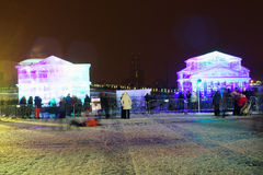Lodowe rzeźby i budynki Bolshoi teatr w Moskwa zarządzie miasta Zdjęcia Royalty Free