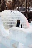 Lodowe rzeźby w Sokolniki parku. Obraz Royalty Free