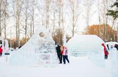 Lodowe rzeźby w Sokolniki parku. Obraz Stock