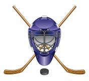 Lodowego hokeja bramkarza maski krążek hokojowy i kije Obrazy Stock