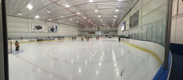 Lodowego lodowiska arena panoramiczna Obraz Stock