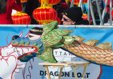 Lodowego smoka Łódkowata maskotka przy Winterlude fotografia royalty free