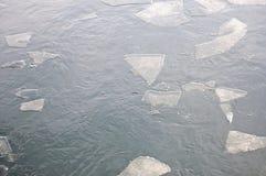Lodowi floes na rzece Zdjęcia Stock