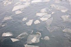 Lodowi floes na rzece Obrazy Royalty Free