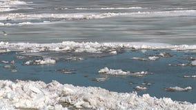 Lodowi floes unoszą się na rzece w wiośnie podczas zamrażają dryf zbiory wideo