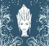 Lodowi królowej i mrozu wzory Twarz kobieta w korona wektoru ilustraci Fotografia Stock