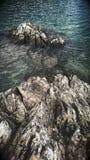 Lodowiec jezioro z skałami Obrazy Stock