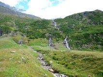 Lodowiec rzeki w wysokogórskich górach Szwajcaria, Unterstock, Urbachtal Zdjęcie Royalty Free