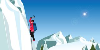 Lodowy arywista wspina się wielką błękit ścianę w czerwonym żakiecie z cioskami Obrazy Stock
