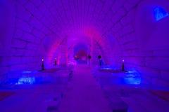 Lodowy bar w Lainio śnieżnej wiosce w Yllasjarvi, Finl Obraz Stock