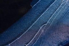Lodowy deseniowy tło na powierzchni staw lub rzeka Zdjęcie Royalty Free