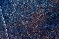 Lodowy deseniowy tło na powierzchni staw lub rzeka Fotografia Stock