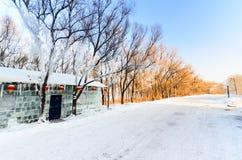 Lodowy dom na śnieżnej drodze Zdjęcia Stock