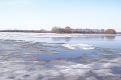 Lodowy dryf na rzece Zdjęcie Royalty Free