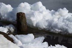 Lodowy dryf na rzece w wiośnie Zdjęcia Royalty Free
