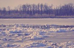 Lodowy dryf na rzece wielcy lodowi floes unosi się na wodzie S Fotografia Stock