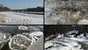 Lodowy floe unosi się na wodzie rzecznej w zima sezonu pięknej bajce zbiory wideo