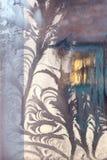 Lodowy kwiat na okno obrazy stock