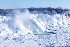 Lodowy nagromadzenie Niagara Spada, zima 2015 Zdjęcia Royalty Free