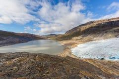 Lodowy przód Svartisen lodowiec w Norwegia z jeziorem Fotografia Royalty Free