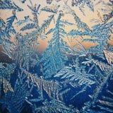 Lodowy wzór na zimy szkle w mrozie przy zmierzchem Lodowy wzór na szkle strzela w makro- Lodowy wzór na szklanym spojrzeniu futur Obraz Royalty Free
