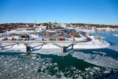 lodu zakrywający port Zdjęcia Royalty Free