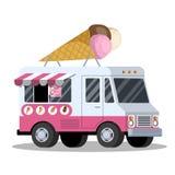 Lody ciężarówka Van z słodkim jedzeniem deliciouses royalty ilustracja