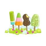 Lody I Marznący Owocowych drzew fantazi cukierku ziemi cukierki krajobrazu element royalty ilustracja